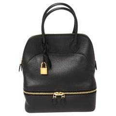 Hermès Black Swift Leather Gold Finished Bolide Secret Bag