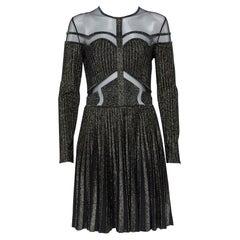 Elie Saab Black Lurex Knit & Tulle Paneled Flared Mini Dress M