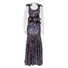 Dolce & Gabbana Sartoria Multicolor Sequin Embellished Tulle Mermaid Gown S
