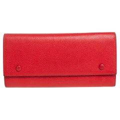 Celine Red Drummed Leather Multifunction Flap Wallet