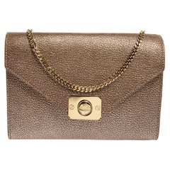 Mulberry Metallic Gold Leather Delphie Duo Chain Shoulder Bag