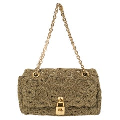 Dolce & Gabbana Lurex Fabric Padlock Shoulder Bag
