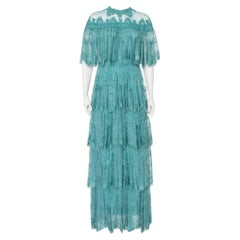 Elie Saab Turquoise Blue Embroidered Lace Overlay Detail Tiered Maxi Dress M