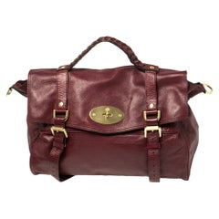 Mulberry Dark Red Leather Alexa Satchel