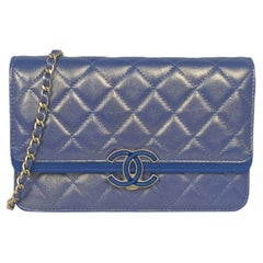 Chanel 2019A Iridescent Blue CC Quilted Wallet On Chain WOC Crossbody Bag