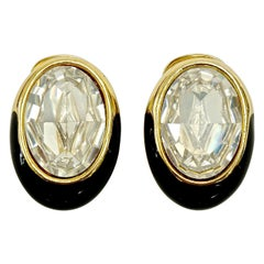 Swarovski Gold Plated Oval Black Enamel and Crystal Clip On Earrings
