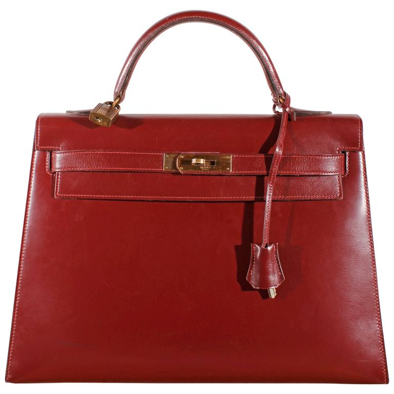 dc5af3e5a560 1960 Vintage Hermès Kelly Bag 32 Burgundy at 1stdibs