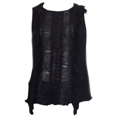 ALBERTA FERRETTI black silk SHEER FRINGED Sleeveless Shirt 42 M