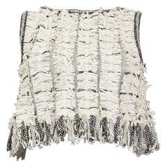 CHANEL 2018 white cotton CROPPED FRINGE Sleeveless Blouse Shirt 38 S