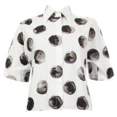 DOLCE & GABBANA black white cotton DOT Short Sleeve Button Up Shirt 40 S
