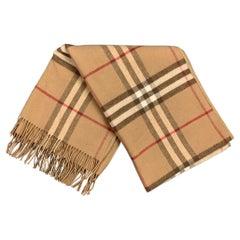 BURBERRY LONDON Tan & Brown Plaid Merino Wool / Cashmere Scarf