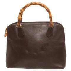 Gucci Brown Leather & Bamboo Handbag