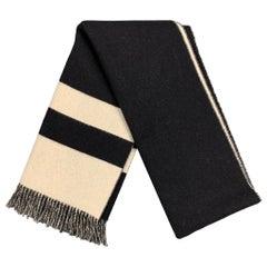 RALPH LAUREN Collection Black & White Color Block Lamb Wool Scarf