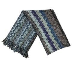 MISSONI Blue & Grey Zig-Zag Knitted Acrylic Blend Scarf
