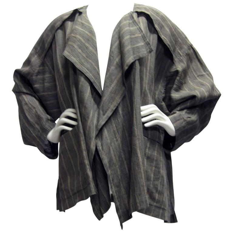 Issey Miyake Linen Striped Draped Open Jacket