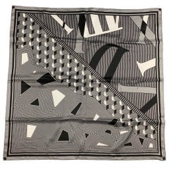 AUDEMARS PIGUET Grey & Black Silk Scarf