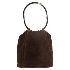Gucci Brown Suede Bucket Bag