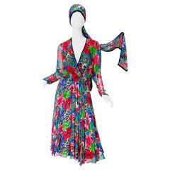 Vintage Diane Freis Silk Chiffon Beaded Tropical Print Midi Dress + Sash