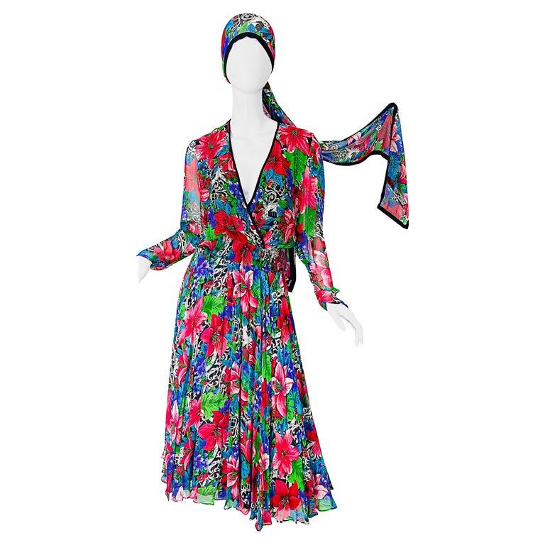 Vintage Diane Freis Silk Chiffon Beaded Tropical Print Midi Dress + Sash For Sale
