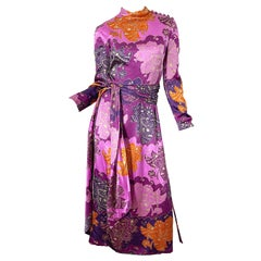 1970s Adele Simpson Paisley Print Long Sleeve Purple Vintage 70s Maxi Dress Belt