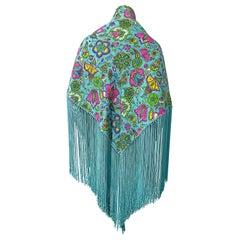 I Magnin 1970s Turquoise Teal Blue Paisley Print Metallic Large 70s Fringe Shawl