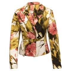 Dries Van Noten Green & Multicolor Floral Print Blazer