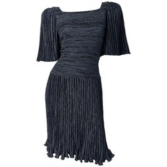 1980s Mary McFadden Couture Size 8 Black Fortuny Pleated Vintage 80s Dress