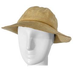 1970s Halston Ultra Suede Tan Brown Vintage 70s Fedora Hat