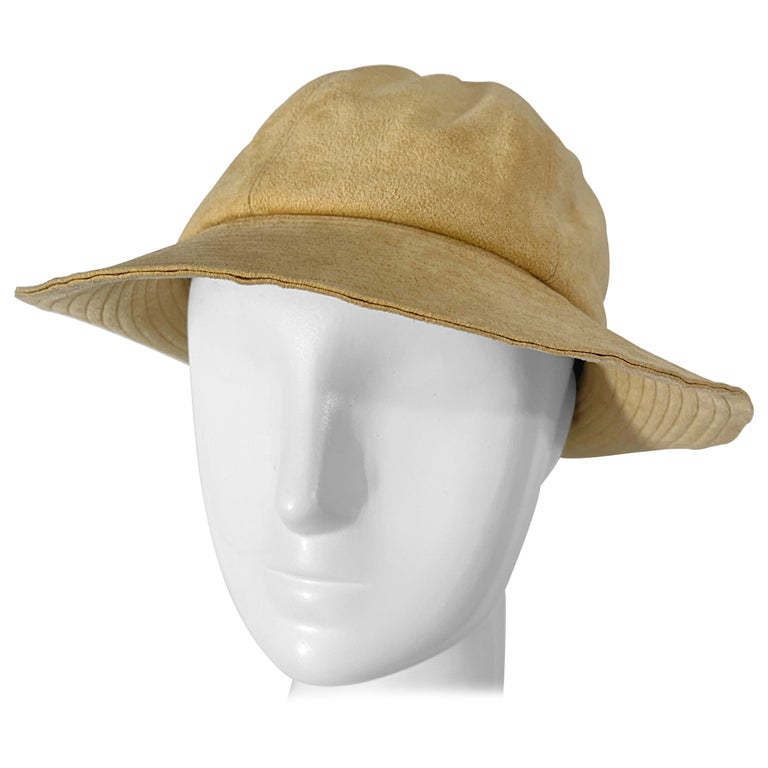 1970s Halston Ultra Suede Tan Brown Vintage 70s Fedora Hat For Sale