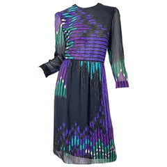Vintage Hanae Mori Neiman Marcus Size 10/12 1980s Abstract Print 80s Silk Dress