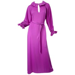 NWT 1970s Halston IV Purple / Pink One Size Fits All Vintage 70s Maxi Dress