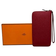 Hermes Rouge Epsom Zip Around Wristlet Wallet