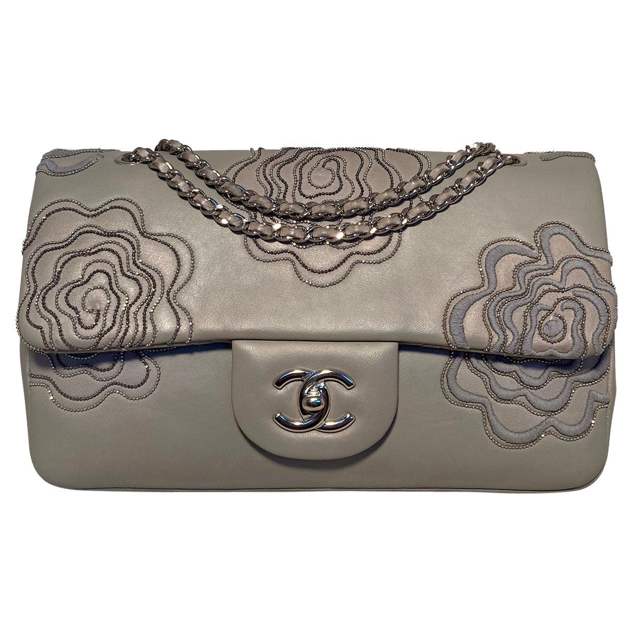 Chanel Camellia Follies Embroidered Medium Classic Flap