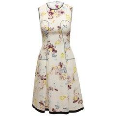 Erdem White & Multicolor Floral Print Sleeveless Dress