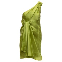 Jackie Rogers Lime Green One Shoulder Dress