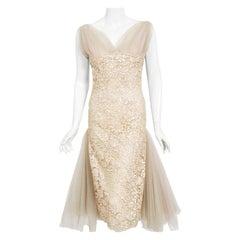 Vintage 1950's Anne Verdi Champagne Sequin Lace & Tulle Bustle Back Bridal Dress