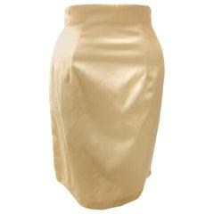 1980's John Galliano London Label Cream Pencil Skirt