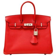 Hermès Poppy Red Epsom Leather 25 cm Birkin Bag