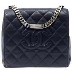 Chanel Navy Blue Leather Chain Strap Vintage Bag