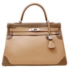 Hermès Etoupe Etain Swift Ghillies 35 cm Limited Edition Kelly Bag