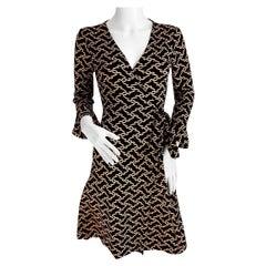 Black beige link print silk jersey wrap dress FLORA KUNG