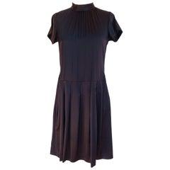 Silk satin drop-waist pleated LBD little black dress FLORA KUNG