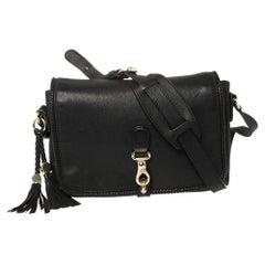 Gucci Black Leather Medium Marrakech Tassel Shoulder Bag