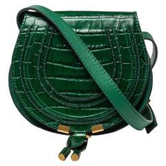 Chloe Green Croc Embossed Leather Mini Marcie Crossbody Bag
