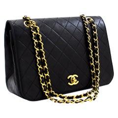 CHANEL Full Flap Vintage Chain Shoulder Bag Black Quilted Lambskin