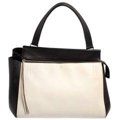 Celine Black/White Leather Medium Edge Top Handle Bag