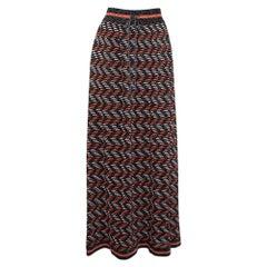 M Missoni Multicolor Geometric Pattern Lurex Knit Maxi Skirt L