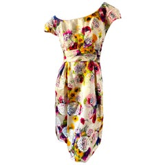 Mollie Parnis for Saks Fifth Avenue 1960's Vintage Floral Silk Dress