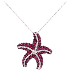 Ruby and Diamond Starfish Design Pendant Suspended on Link Chain Gold Necklace