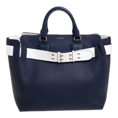 Burberry Navy Blue/White Leather Medium Belt Bag